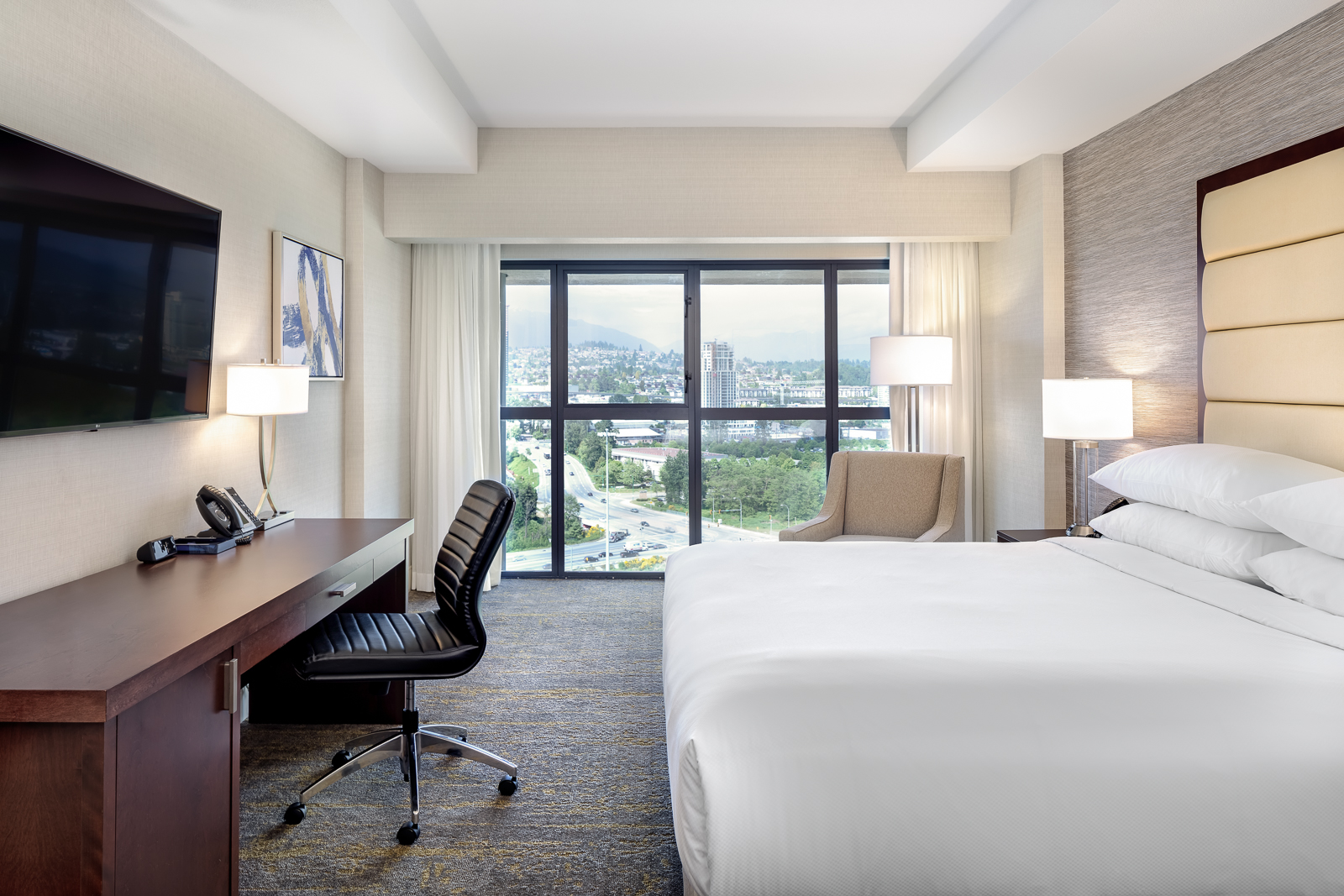 King Size Bed, Desk and TV in the Delta Burnaby