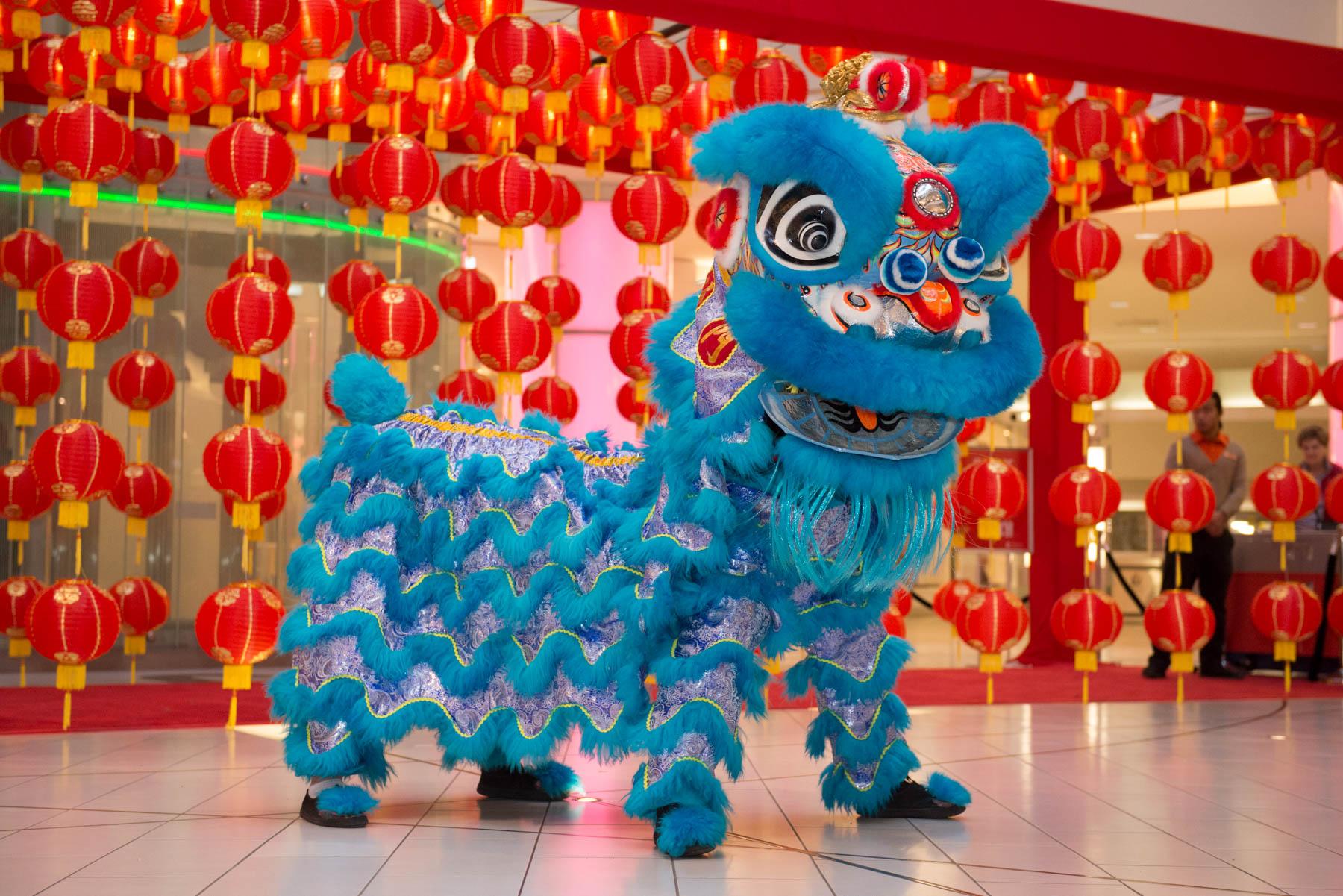 Blue lion for Lunar New Year at Metropolis at Metrotown